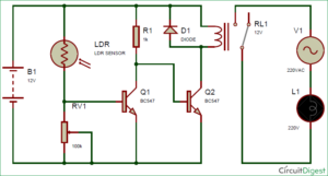 Automatic Street Light Controller Circuit Using Relay and LDR ...